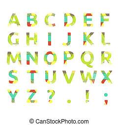 Creative spectral alphabet of geometric paper color