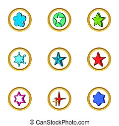 Creative star icons set, cartoon style