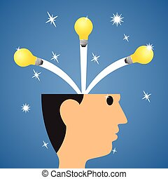creative start, idea start from head to success. idea out of the head. Brainstorming, education and learning. vector illustration.