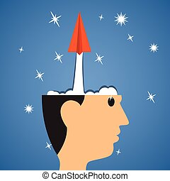 creative start, Paper airplane start from head to success. idea out of the head. Brainstorming, education and learning. vector illustration.