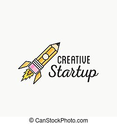 Creative Startup Rocket Abstract Vector Logo Template or Label, Badge. Isolated Illustration.
