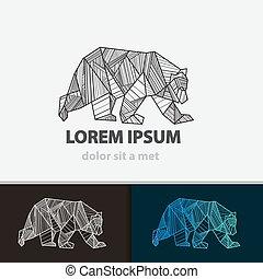 Creative stylized icon bear. Vector idea ferocious beast. ...