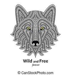 Creative stylized wolf head in ethn