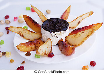 Creative sweet dessert from fruit pastry biscuit
