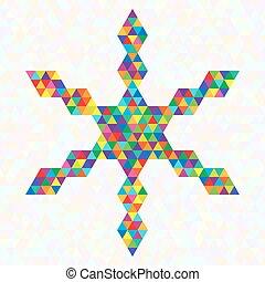Creative Symbol Festive Snowflake of Rainbow Triangles.