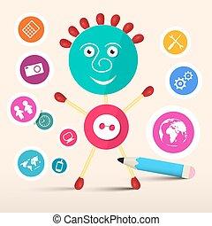 Creative Symbol Vector Man - Avatar with Circle Technology Icons