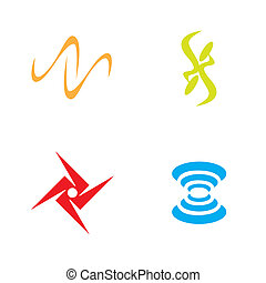 A collection of four symbols for use as icons or art elements.
