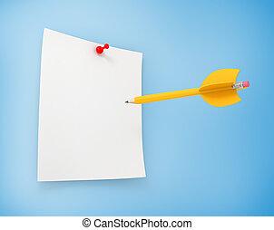 Blue folder with strategic target goals report  Blue file folder