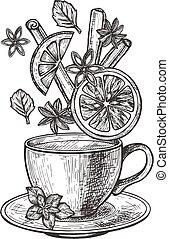 Creative tea time hand-drawn set
