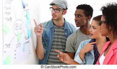 Creative team brainstorming together