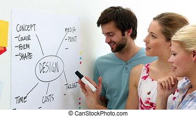 Creative team having a briefing in creative office