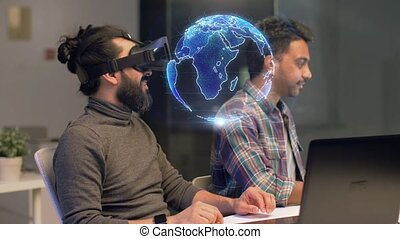 creative team in virtual reality headset at office -...