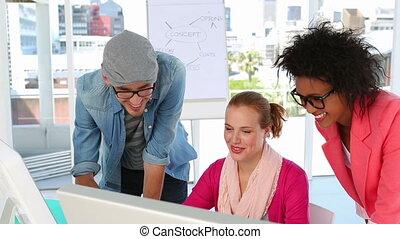Creative team working together