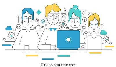 Creative team working together. Human resources coworking and career flat line concept. Website header banner elements layout. Presentation, flyer and poster.
