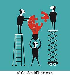 Creative teamwork vector concept in flat cartoon style