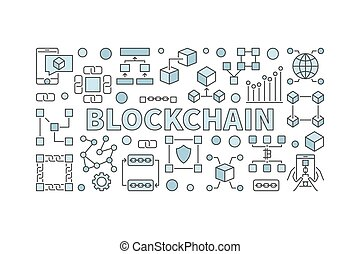 Creative technology banner made with block chain icons and word
