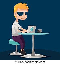 Creative Teen Man Work Laptop Vector