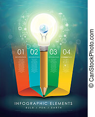 creative template with earth in bulb pencil infographic