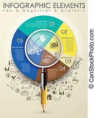 creative template with pencil combine magnifying glass infograph