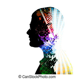 Creative Thinker Person Silhouette - A creative montage of a...