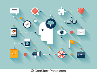 Flat design style modern vector illustration concept with icons set of creative thinking, business strategy process, brainstorming marketing ideas, daily thoughts and lifestyle routine. Isolated on stylish color background.