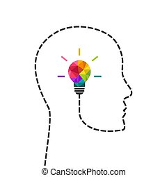 Creative thinking and learning concept with colorful low poly lightbulb and human profile line