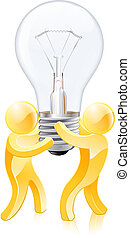 Creative thinking concept of two gold people holding a...