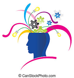 creative thinking - stylized head with explosion of ...