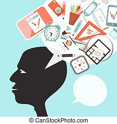 Creative Thinking Symbol. Man Head Silhouette with Education and Business Items on Speech Bubble. Vector.