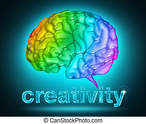 creative thought - illustration of a brain with the colors ...
