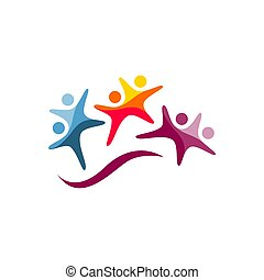 creative Three 3 people logo design vector group of persons sign