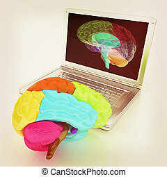 creative three-dimensional model of real human brain and scan on a digital laptop. 3d render. Vintage style.