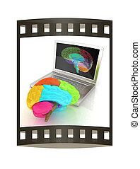creative three-dimensional model of real human brain and scan on a digital laptop. 3d render. The film strip