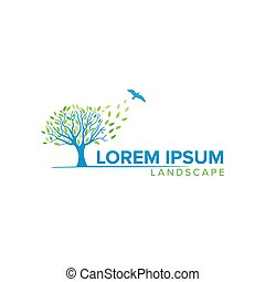 Creative tree logo concept design with flying bird, modern, simple and professional feel. Very nice for brand identity .