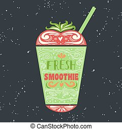 Motivational poster with smoothie. - Creative typography art...