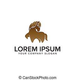 creative unique horse logo design concept template. fully editable vector