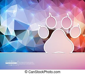 Creative vector animal footprint. Art illustration template background. For presentation, layout, brochure, logo, page, print, banner, poster, booklet, business infographic, wallpaper, sign, flyer.