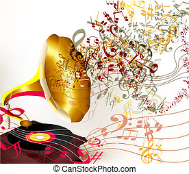 Creative vector background with old gramophone and notes on white
