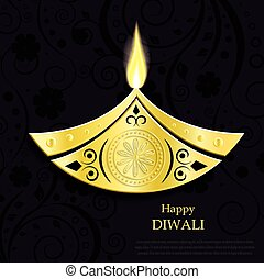 Creative vector design of burning diwali diya