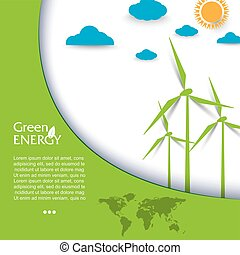 Creative vector design regenerative energy with wind...
