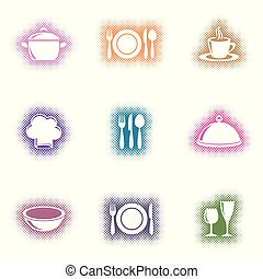 Creative vector eatery menu icons halftone design