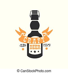 Creative vector emblem with bottle of craft beer and ribbon. Brewing company symbol. Alcoholic beverage. Graphic element for product label