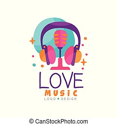 Creative vector emblem with headphones and retro microphone. Logo for music radio station, record studio or mobile app