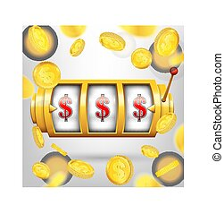 Creative vector illustration of 3d gambling reel, casino slot machine isolated on transparent background. Art design. Concept abstract graphic element - one arm bandit, lucky symbol, big win, 777
