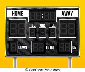Creative vector illustration of american football scoreboard with infographics isolated on transparent background. Art design sport game score with digital LED dots. Abstract concept graphic element.