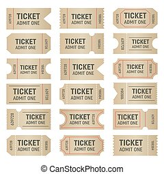 Creative vector illustration of blank shapes of tickets isolated on background. Art design templates for movie, cinema, concert, events, sports, theatre, party. Abstract concept graphic element