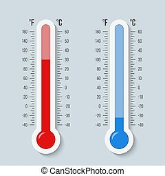 Creative vector illustration of celsius, fahrenheit meteorology thermometers scale isolated on background. Heat, hot, cold signs. Art design equipment. Weather temperature. Abstract concept graphic