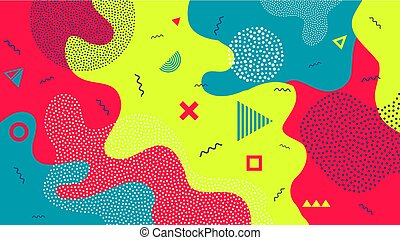 Creative vector illustration of children cartoon color splash background. Art design trendy 80s-90s memphis style. Geometric line shape pattern. Abstract concept graphic playground banner element