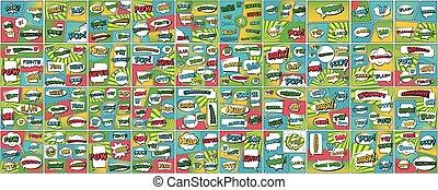 Creative vector illustration of comic speech bubble, pop art set background. Art design cartoon halftone template. Abstract concept graphic comics book element with prase