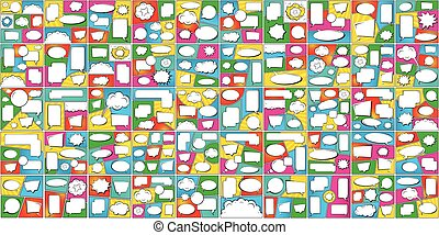 Creative vector illustration of comics pop art style blank layout, banner set background. Art design cartoon template. Abstract concept graphic cloud, sale element